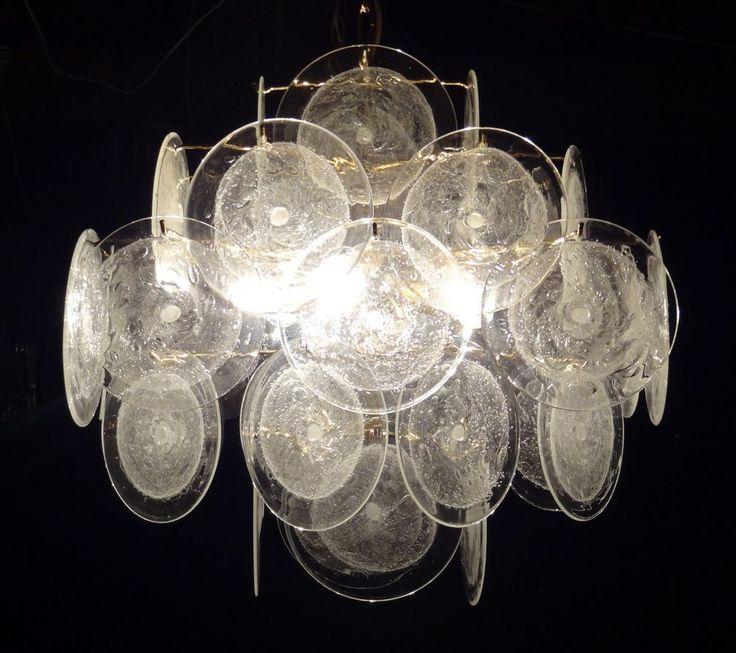 Vistosi Murano Glass Disc Chandelier Retro Vintage Design