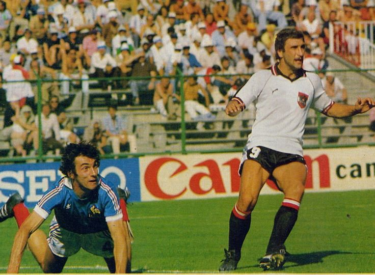 France 1 Austria 0 in 1982 in Madrid. Maxime Bossis heads clear from Hans Krankl in Round 2, Group D at the World Cup Finals.