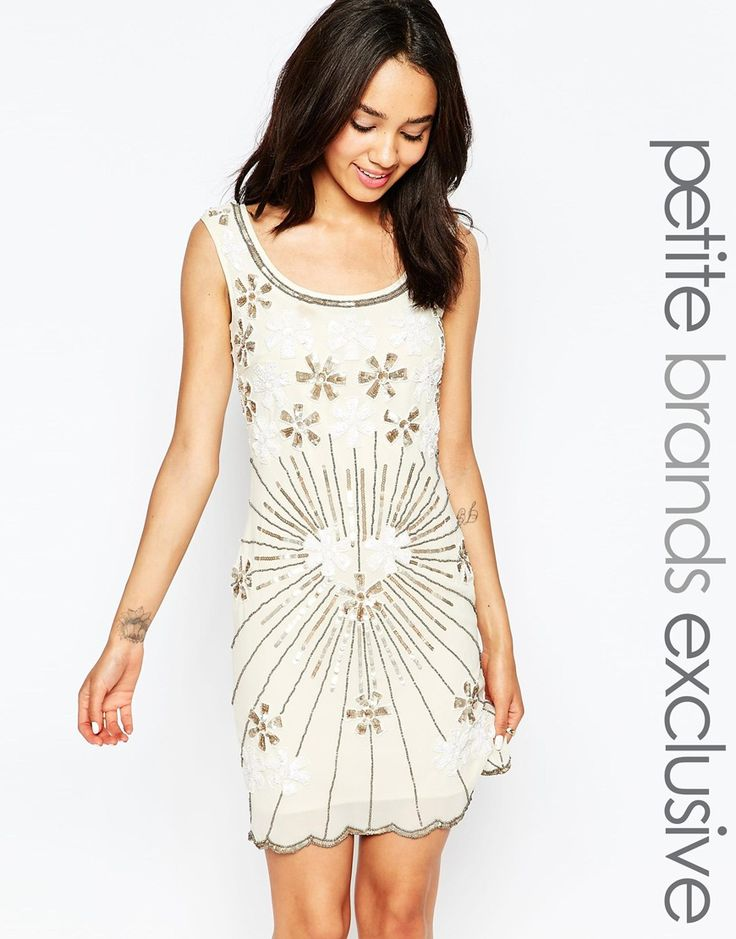 Maya+Petite+Embellished+Shift+Dress+With+Plunge+Back