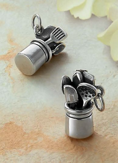 A symbol of culinary pride and a love for cooking, this sterling silver charm is the perfect way to showcase your passion for food. #jamesavery #chef #charms
