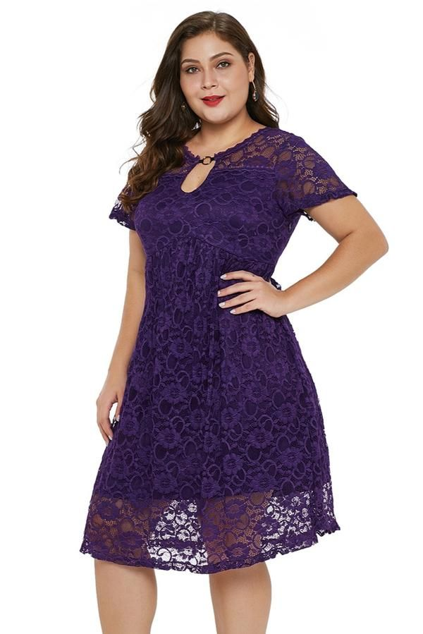 69e9ef89b554 Gosopin Plus Size Lace Party Dresses O Neck Trapeze Babydoll Sexy Midi Dress  Elegant Club Summer Dresses 2019 Hollow Out 220543