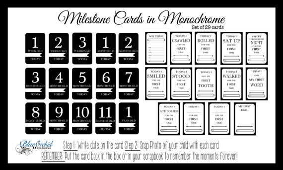 Check out this item in my Etsy shop https://www.etsy.com/ca/listing/246318381/monochrome-baby-milestone-cards-baby