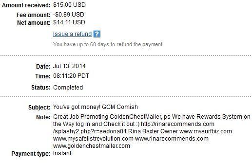 Grab the Golden 3K BlowOut Bonus! Here's what you get: $1.50 Sign Up GCM CASH 3000 bonus mailing credits 3000 bonus banner impressions 3000 bonus text impressions The promo code is: RinaLikeYa