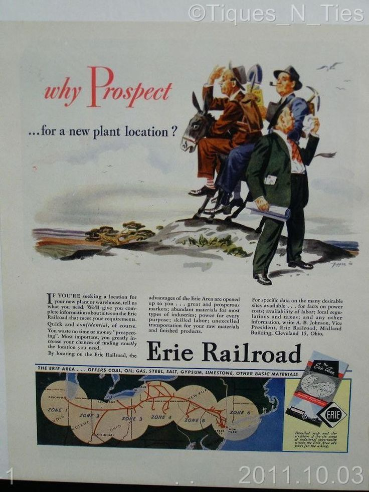 Vintage 1940s Erie Railroad Travel Train Why Prospect Ad