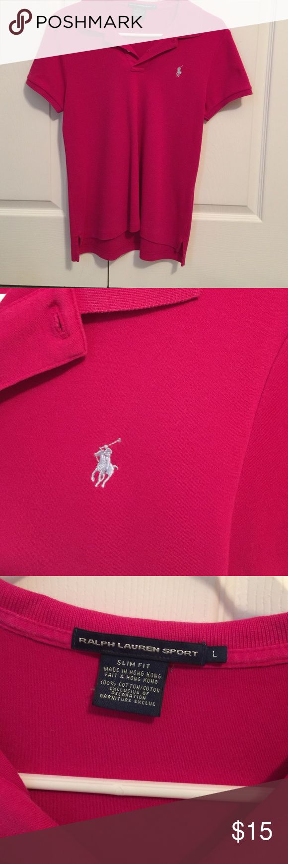 Ralph Lauren Ladies Polo Shirt size Large Very good condition dark pink size large slim fit. Lauren Ralph Lauren Tops