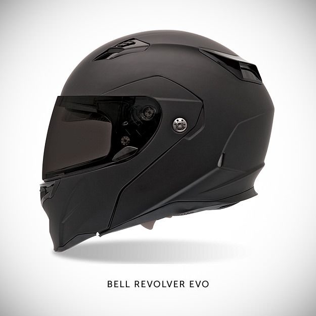 Bell Revolver Evo As far as DOT-certified modular helmets go, the $200 Revolver Evo by Bell is one of the best examples I've come across. You can ride with the front up or down, making it a convertible of sorts. And it comes with an internal flip-down sunvisor. Love this lid