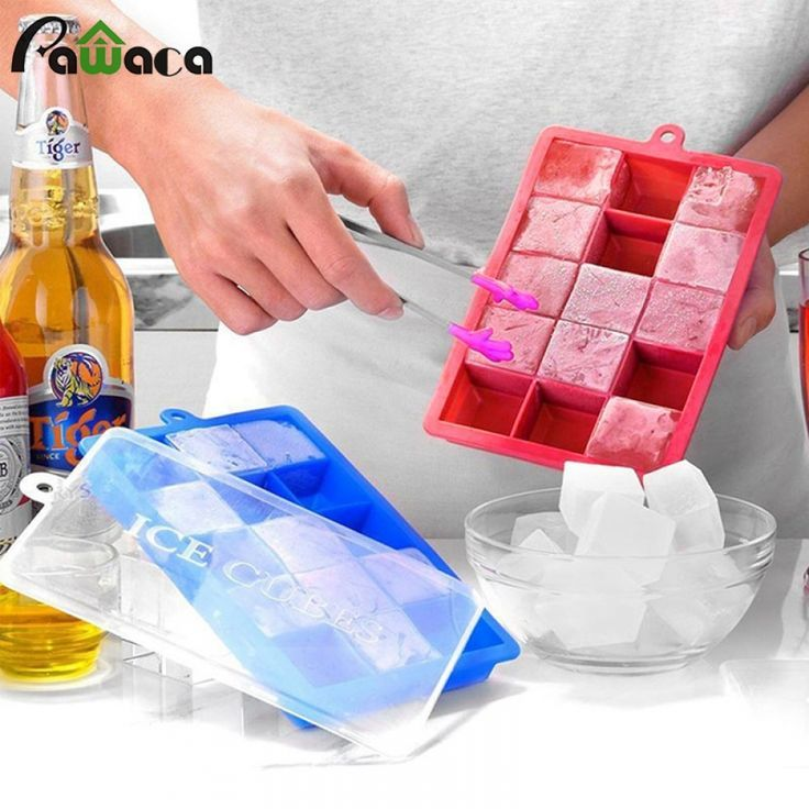 Large Silicone Ice Cube Mould Tray Plastic with Lid Home Freezer Maker Kitchen
