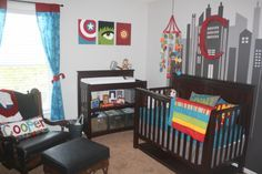 Avengers nursery Love the city mural! Clever - Visit to grab an amazing super hero shirt now on sale!