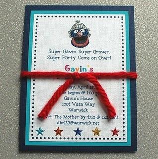Sesame Street Super Grover Party Invitation