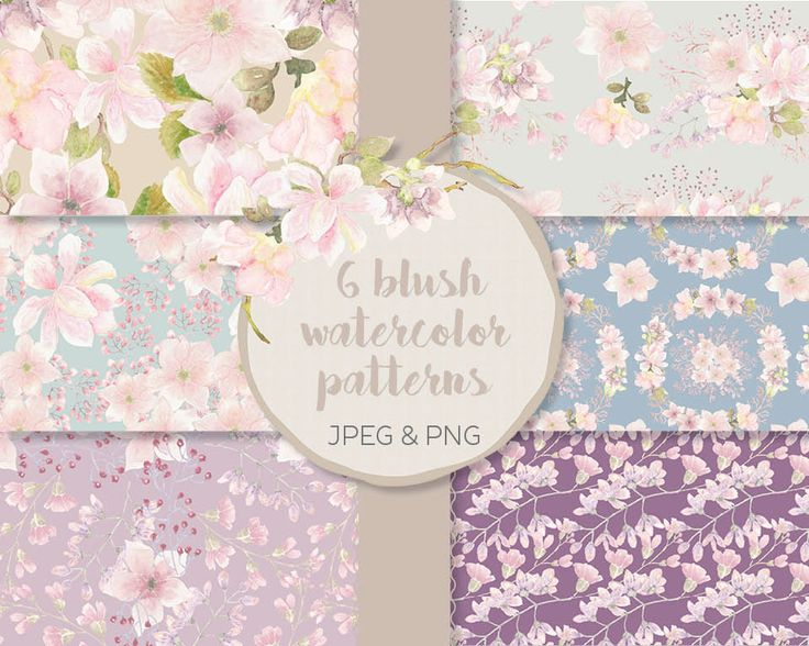 Watercolor paper: blush florals; seamless patterns; digital paper; scrapbooking; printable paper; instant download by LollysLaneShoppe on Etsy