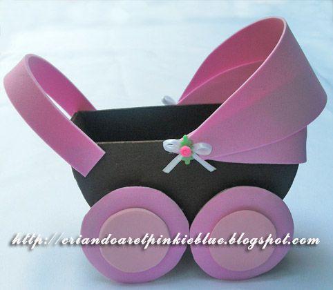 Pinkie Blue Artigos para festa: Molde carrinho de bebê de e.v.a