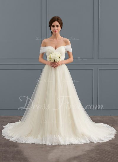 Ball-Gown Off-the-Shoulder Court Train Tulle Lace Wedding Dress With Ruffle (002…