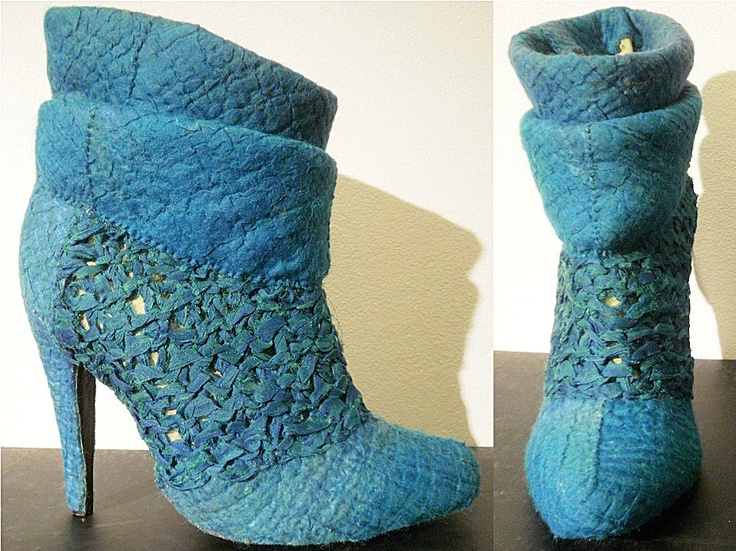 Ankle boots covered with felt and handknitted silk organza - Metamorphosis 2