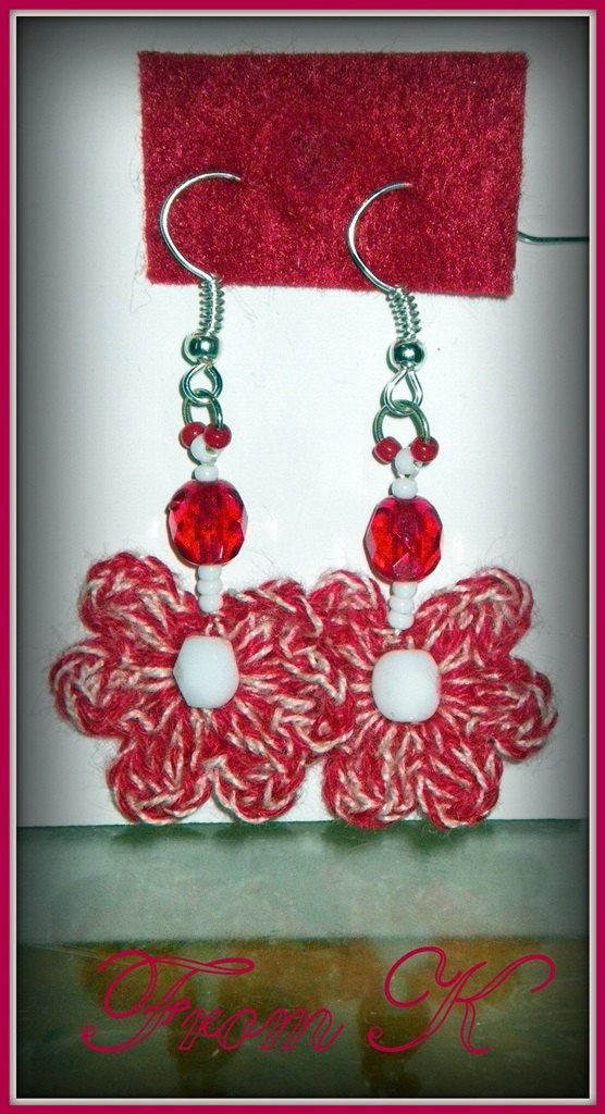 Crochet flower earrings in red and white by FromK on Etsy, $3.50