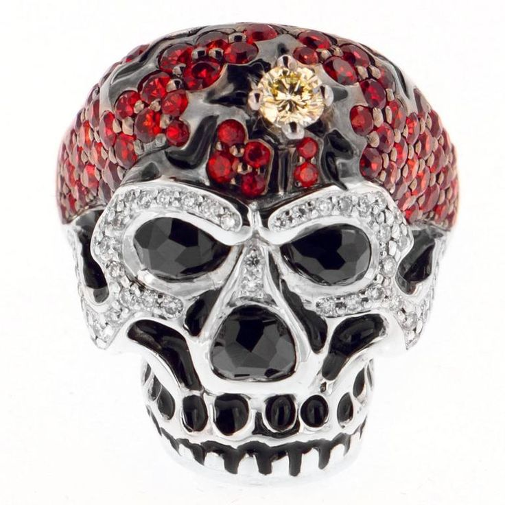 Red Sapphire Skull Ring
