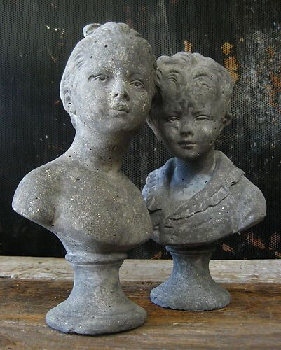 Vtg Shabby Girl Amp Boy Garden Statues Old Chippy Concrete
