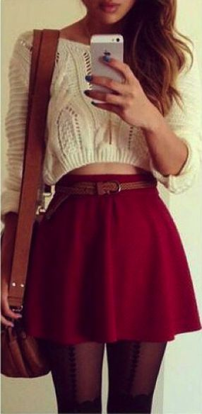 Lovely Winter Holiday Outfit- cropped cable knit cream sweater, short burgundy high waisted skirt, sheer black tights