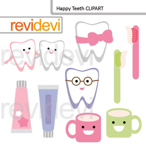 Brush your teeth clipart, commercial use clip art, digital graphic- Happy teeth 07586 by revidevi on Etsy