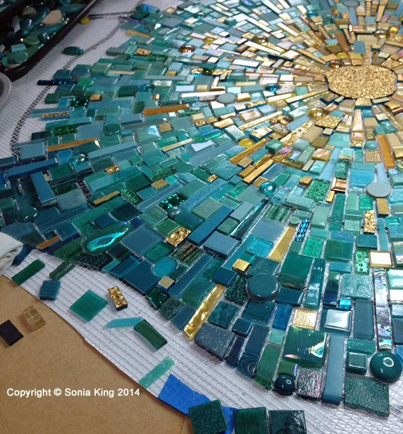Mosaic installation in progress for Hall Arts by Sonia King Mosaic Artist