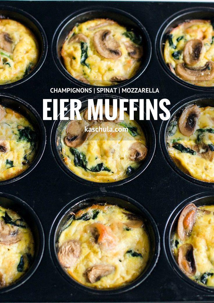 Ein Rezept für Eier Muffins mit Spinat und Champignons. Zutaten: Für 10 Stück: 5 Eier 280 g Spinat100 g Mozzarella 220 g Champignons 2 EL Schlagsahne 1 EL
