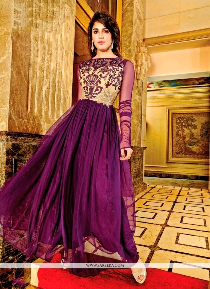 Design, style and pattern would be at the peak of your attractiveness once you dresses this purple georgette and net anarkali salwar kameez. The stunning embroidered and resham work throughout the att...