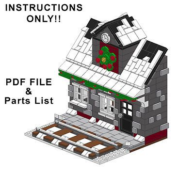 Lego-Custom-Winter-Village-Train-Station-INSTRUCTIONS-ONLY-Holiday