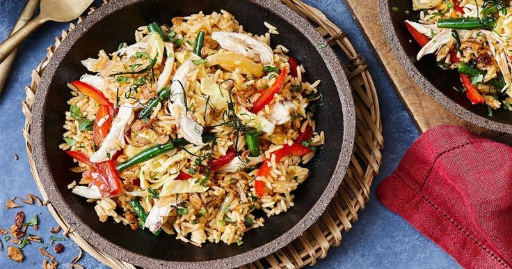 Skip the takeaway and enjoy this 30-minute Thai fried rice with shredded chicken.