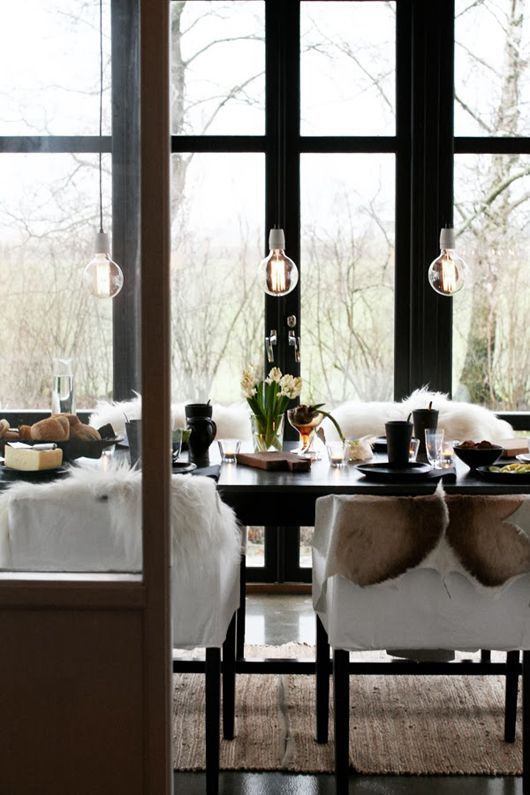 Dining Room decor ideas - modern, natural decor with schoolhouse lighting and textures.