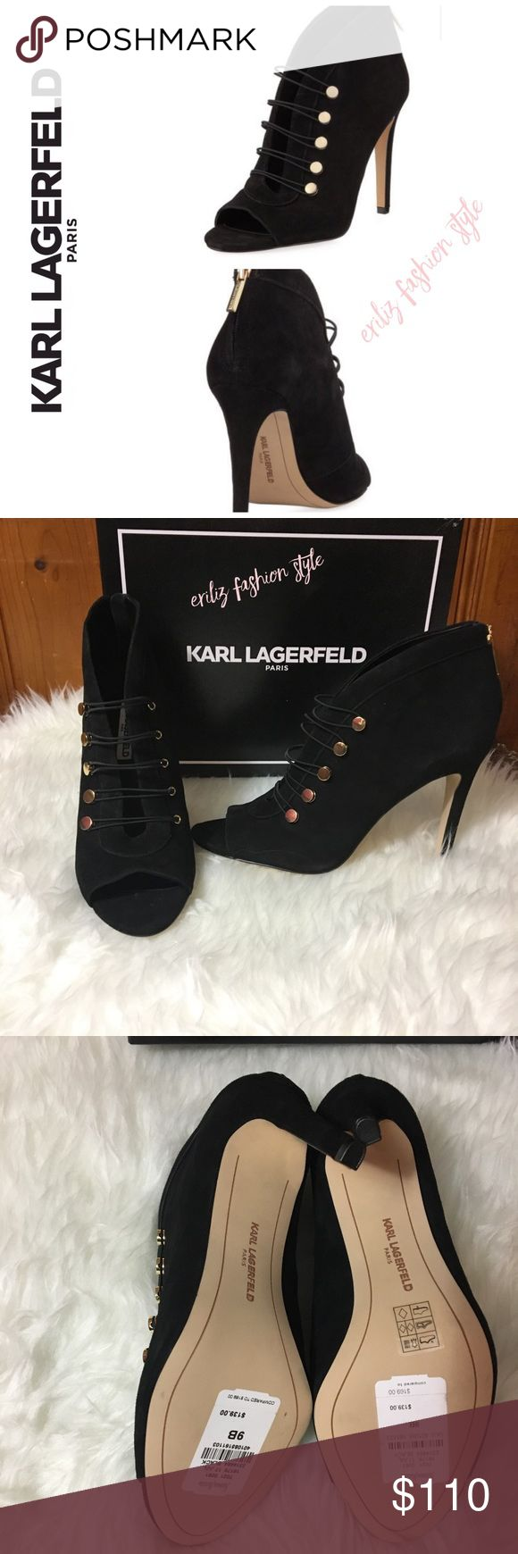 Karl Lagerfeld Paris Lori Split Open-Toe Bootie 🔸Karl Lagerfeld Suede Bootie with stretch button straps. 🔸4.3 covered stilettos heels. 🔸Open toe 🔸Padded footbed ✅ Brand Nee with Box includes  🚫No Trades 🚫No offer in comment section🚫 Karl Lagerfeld Shoes Ankle Boots & Booties
