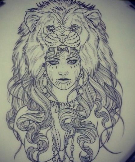 Mandala Wolf Tattoo Designs For Women I Like The: Tattoos, Headdress Tattoo