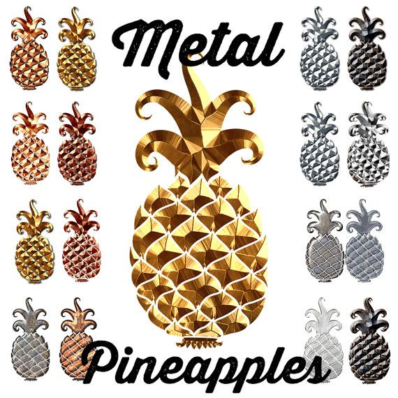 Digital Clip Art - Pineapple Clipart - Metalic Clipart - Gold Pineapple - Commercial Use OK  PNG: if you want transparent backgrounds, PNGs are the