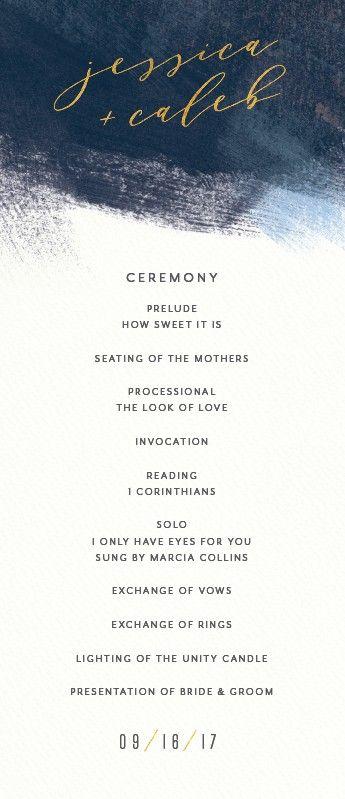 Modern Brushstroke Wedding Ceremony Program