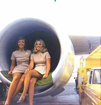 By the 1980s, jet intakes were being designed so up to two air hostesses could pose for photos in them.