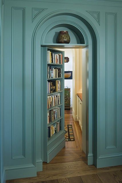 What person wouldn't want secret doors in their house behind shelves or bookcases. Now I'm just going to upgrade the idea and have a hidden room that looks like Narnia behind an old English wardrobe.