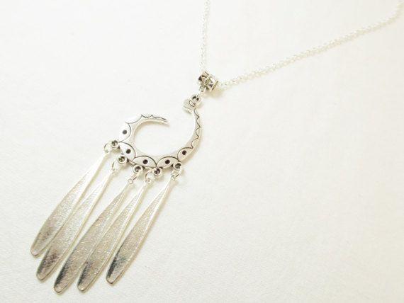 #Silvertone #long #dangling large #pendant by 10dollarjewellery #boho #bohostyle