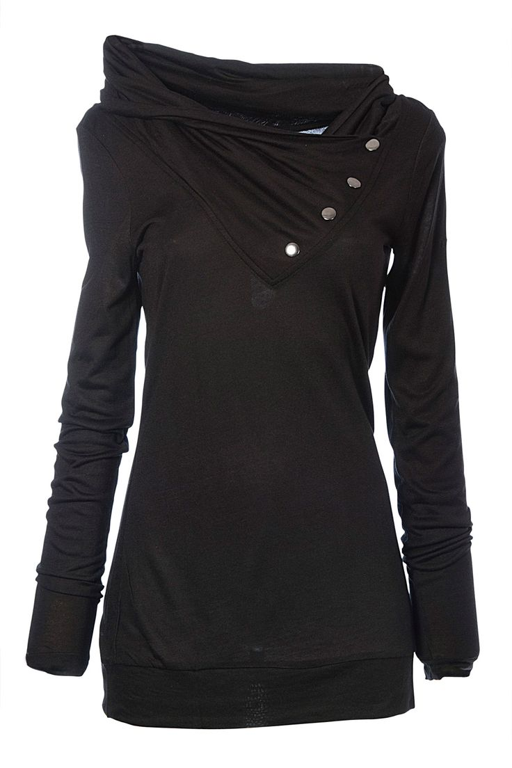 Looks so comfy :): Cowl Neck, Wraps High, Style, High Neck, Neck Viscose, Winter Sweaters, Buttons, Black Tops, Black Sweaters