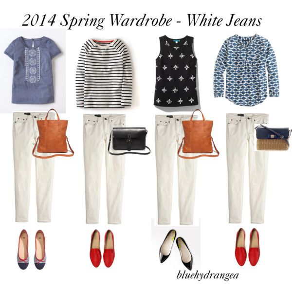 """Spring Wardrobe - White Jeans"" by bluehydrangea on Polyvore"