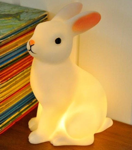 This is the most sweet traditional looking night ligh.t A beautiful white rabbit shaped LED night light with on off switch. Batteries included.