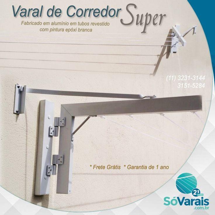 Varal de Corredor Super    Fabricado em alumínio em tubos revestido com pintura epóxi branca. O varal contém 4 cordas de polietileno, é fácil o manuseio para liberar espaço.    * Garantia de 1 ano * Frete Grátis    * Instalação Grátis - Válido para a Cidade de São Paulo.    www.sovarais.com.br  11 – 3151-5284 / 11- 3231-3144 11- 3214-1886 / SAC - 3255-9021    #VaraldeParede #varal #casa #decorar #varalRoupas #varais #decoracao #VaralSuperdeParede #VaraldeParedeSuper #VaralCorredor