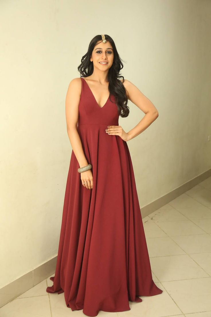 Regina Cassandra Stills In Maroon Dress