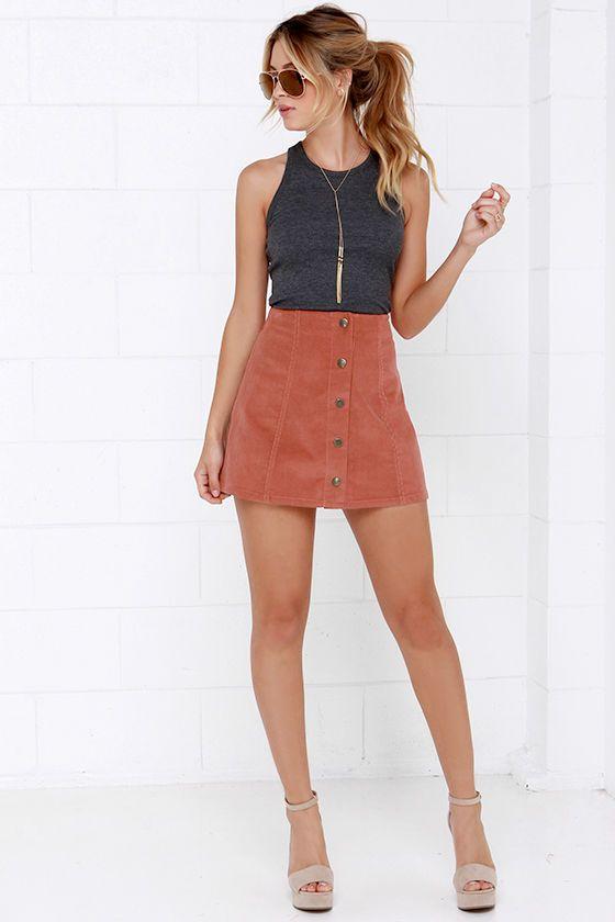 Attagirl Rust Red Corduroy A-Line Skirt