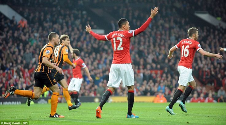 Smalling appeals for his goal to be given by the referee during the match at Old Trafford ...