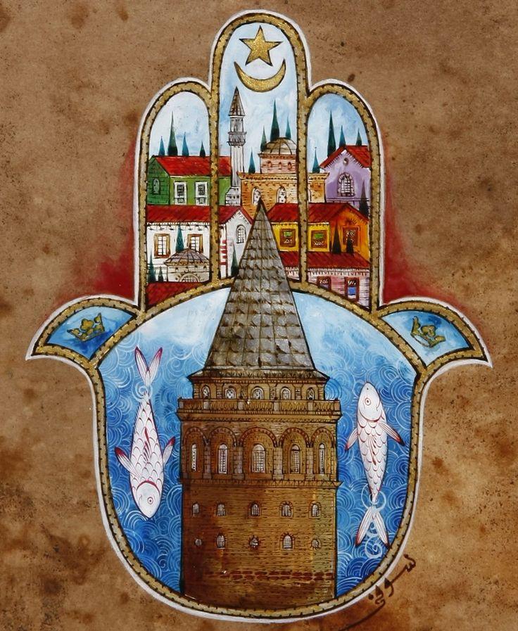 Galata Kulesi ve Fatma'nın Eli Minyatür   OFİS   Taner Alakuş Minyatür Atölyesi   ArkofCrafts