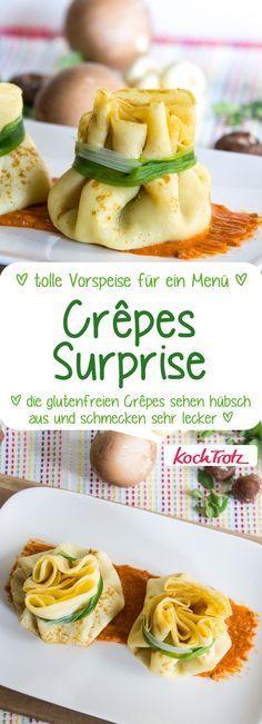 Crêpes Surprise | herzhaft gefüllte Crêpes als Vorspeise für ein Menü #crepes #glutenfrei #laktosefrei #vorspeise #menü