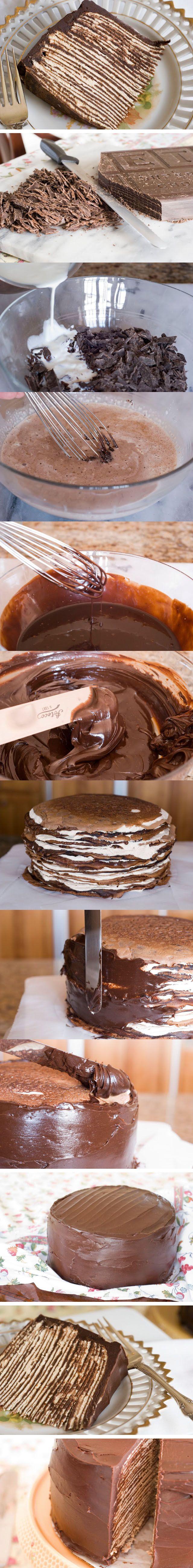 Tarta de crepes con chocolate | Pecados de Reposteria