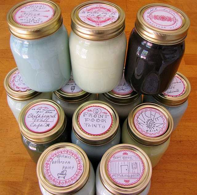 Idea of how to store leftover (touch-up) paint for easy access in your home.Interior Design, Canning Jars, Leftover Painting, Simply Stores, Stores Leftover, Painting Storage, Mason Jars, Design Blog, Touch Up Painting