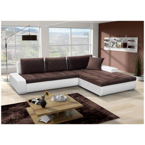 Chloe Decoration - Canapé d'angle convertible Orava blanc et marron Angle droit 5 places Achat / Vente Canapés pas chers - RueDuCommerce