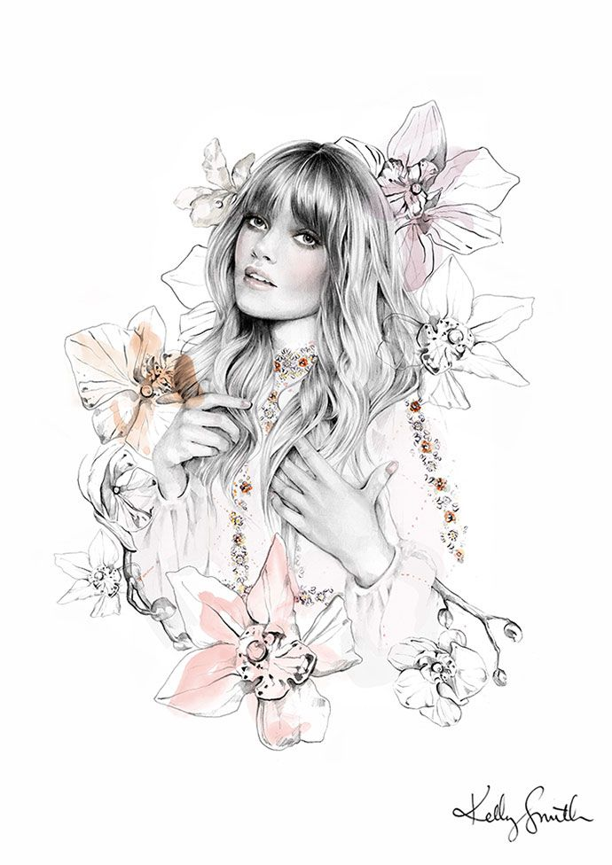 Fashion and beauty illustrations by Kelly Smith