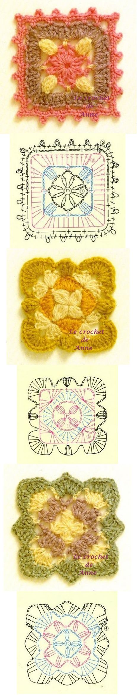 Simple yet pretty crochet grannies  Helpot isoäidin neliöt