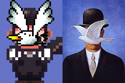 No big deal, just mashing up some René Magritte with Super Mario Bros. Image via supermagritte.tumblr.com